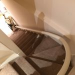 Single rail curved stair lift